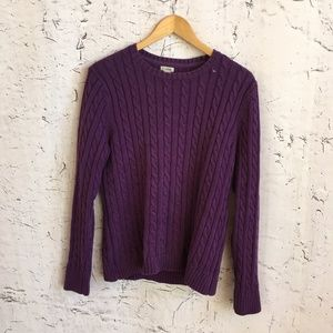 LL BEAN PURPLE CABLE SWEATER L COTTON